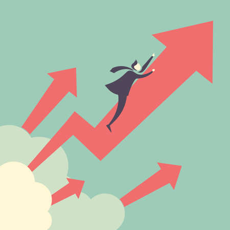 growth: Growth up concept - businessman with arrow growth up