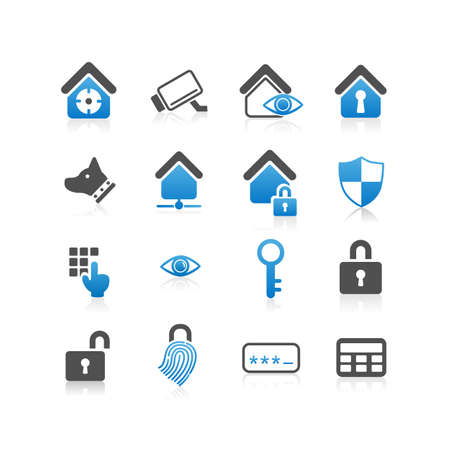 home security: Home security concept icon set - Flat Series