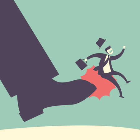zapatos caricatura: disparados resulta concepto - hombre de negocios despedido, desestimar