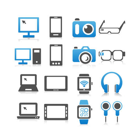 mobile phone screen: All kinds of Computer , smart phone, digital tablet, wearable devices icon set - Flat Series