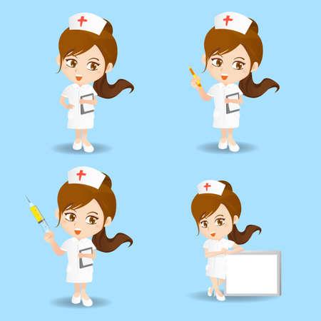 caricatura: Conjunto de la historieta de la enfermera de la mujer en diferentes poses.