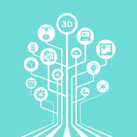 fila de personas: Concepto de impresi�n 3D - icono de la impresora 3D con la tecnolog�a de l�nea de �rboles conectar entre s�