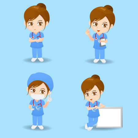doctor of medicine: cartoon set of doctor surgeon woman in different poses.