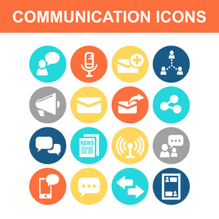 social network icon: Communication concept icon set - Flat Series Illustration