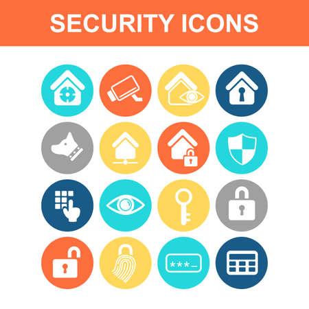 se�ales de seguridad: Home icon concepto de seguridad conjunto - Serie Flat
