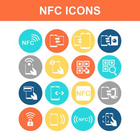 technolgy: NFC technolgy icon set - Flat Series