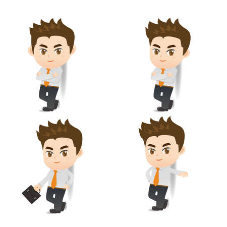 lean: cartoon illustration set of Success Business man lean something