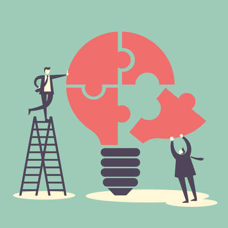 concepto: idea y concepto de trabajo en equipo - hombres de negocios con bombilla y rompecabezas