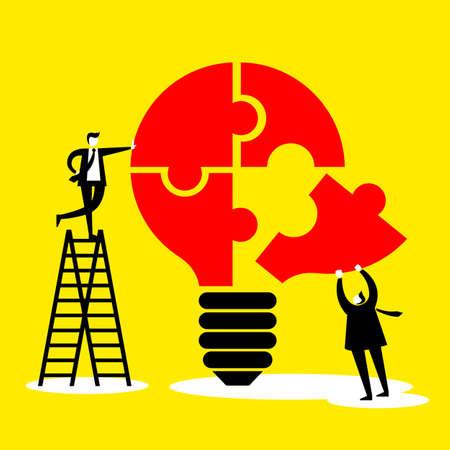hombres ejecutivos: idea y concepto de trabajo en equipo - hombres de negocios con bombilla y rompecabezas