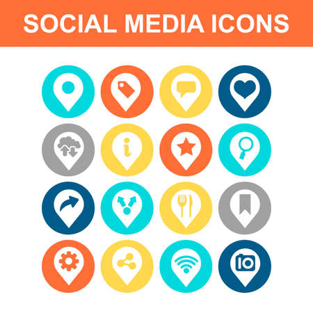 food icons: Social media icon set - Flat Series