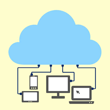 blank tablet: cloud computing concept - cloud connect with computer, great for you design or app or icon.