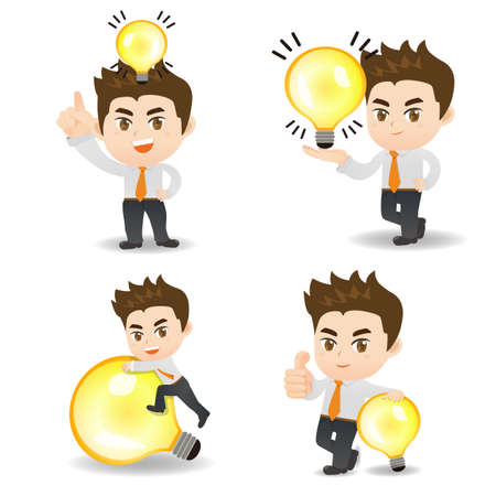 man full body: idea concept - cartoon illustration set of Success and Business man with light bulb Illustration