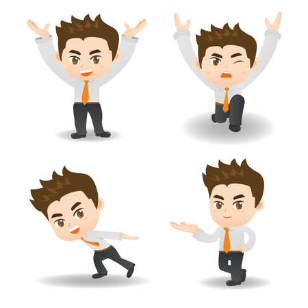 fullbody: cartoon illustration set of Success Business man lift something