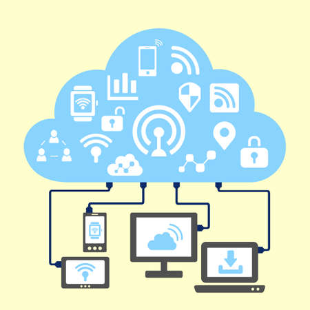 wireless internet: internet of things concept - cloud and internet iot icon connect with computer