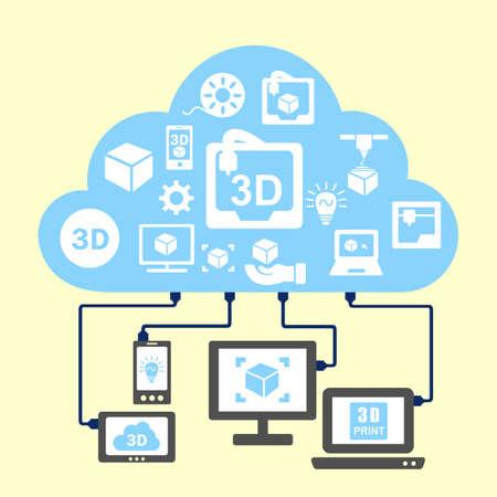�illustration: Concepto 3D de impresi�n - la nube y el icono de la impresora 3D conectar con el ordenador Vectores