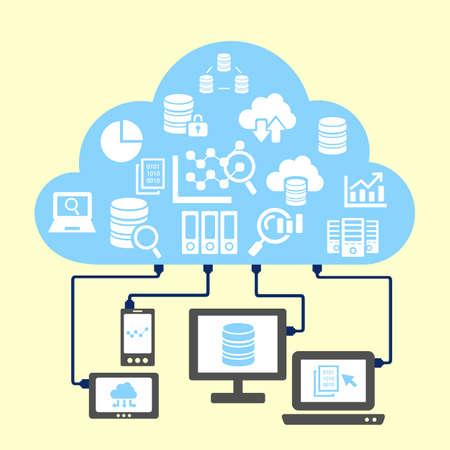 concepto: Gran concepto de datos - nube y grandes icono de la ciencia de datos conectar con la computadora