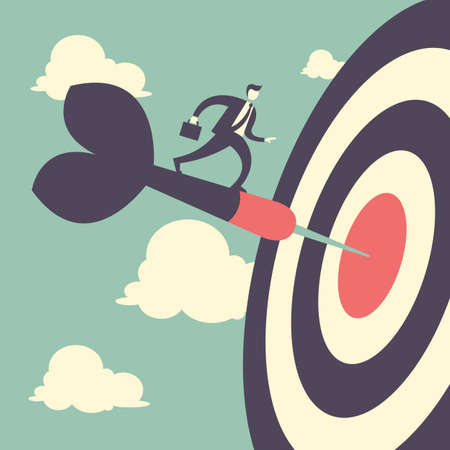 achieve goal: Target caoncept Business man with archery target Illustration