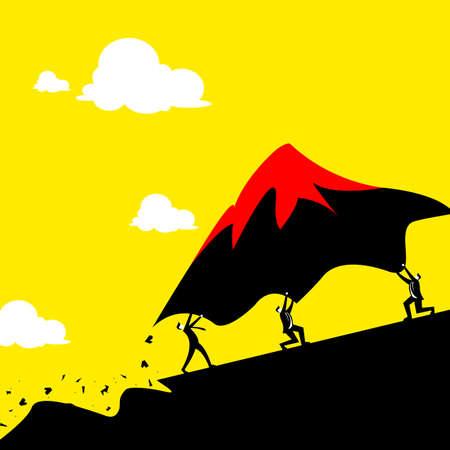 business team: Teamwork concept - Business men team move mountain