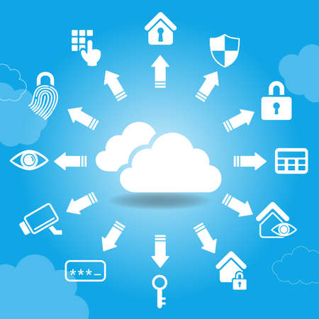 watchdog: Cloud Home Security Concept - Security and cloud icon with blue background Illustration