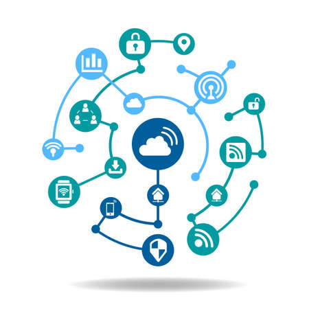 wireless internet: Internet of things concept - icon connect together