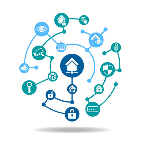 secret code: Smart Home Security Concept - Security icon connect together Illustration