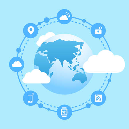 cloud background: Internet of things concept - Globe with internet icon connect together
