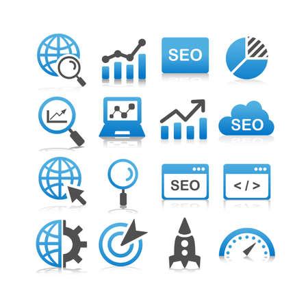 seo: SEO icon set - Flat Series Illustration