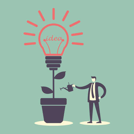 invent clever: idea concept - Success Business man with light bulb