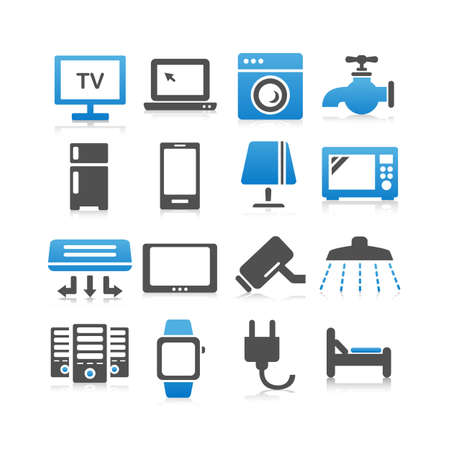 ex: All kinds of household electric appliance ex. TV, refrigerator, Computer , smart phone, digital tablet, bed icon set - Flat Series