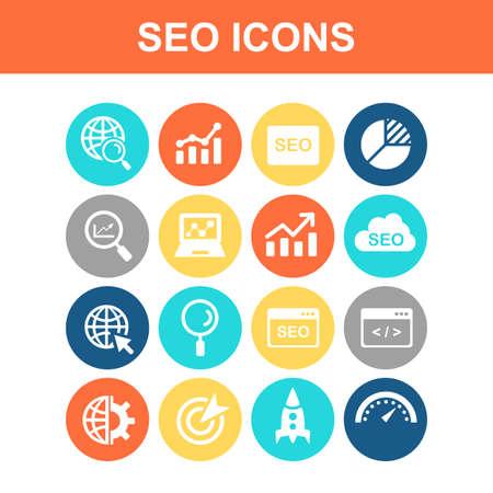 investigando: SEO icon set - Flat Series Vectores