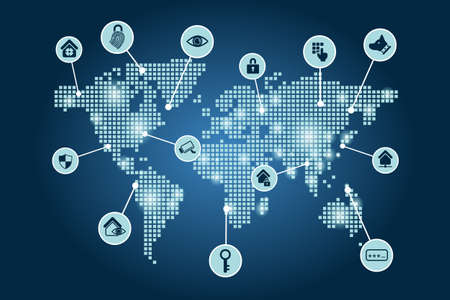 internet icons: Security Concept - Globe dot world map with Security icon Illustration