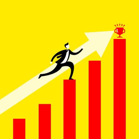 running: Success concept - Business man reaching financial goal