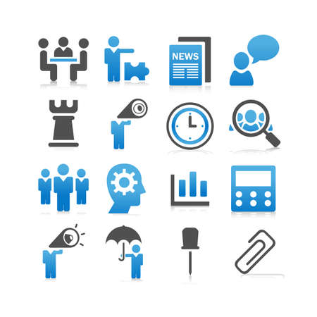 strategy meeting: Business concept icon set - Flat Series