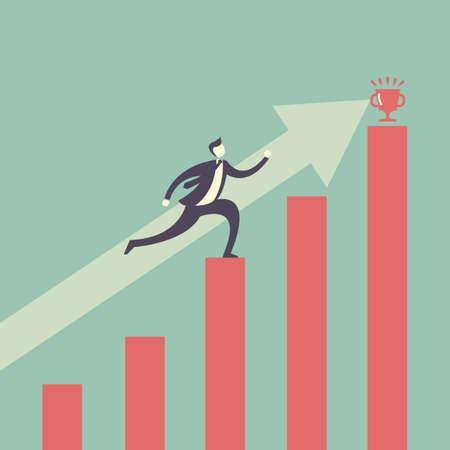 desarrollo económico: Concepto del éxito - hombre de negocios que alcanza meta financiera