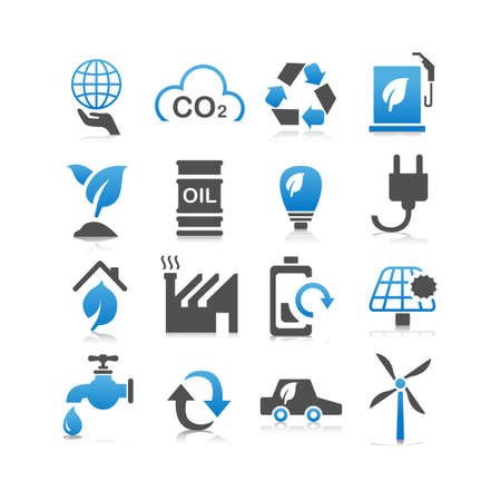 greenhouse gas: Green environment ECO and recycle concept icon set - Flat Series