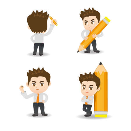 pens: cartoon illustration set of Business man write