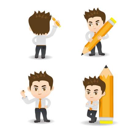 personas de pie: ilustraci�n de dibujos animados conjunto de hombre de negocios de escritura