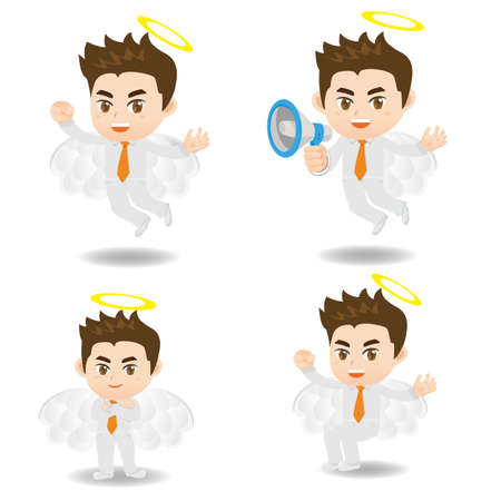 angel white: cartoon illustration angel Businessman positive thinking concept