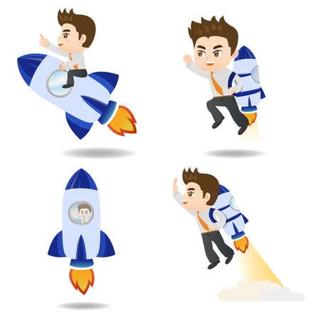 brandweer cartoon: cartoon illustratie set van Business man met rocket, groei
