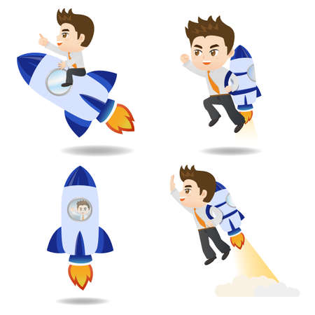 cartoon rocket: cartoon illustration set of Business man with rocket,growth Illustration