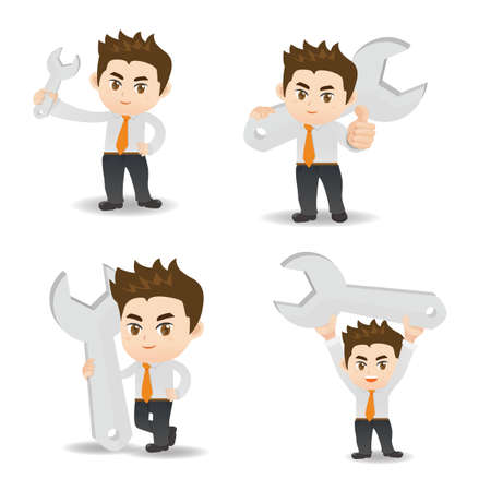 fullbody: cartoon illustration set of Business man with wrench Illustration