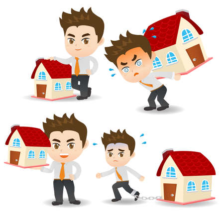 bienes raices: cartoon illustration set of Business man with home loan, property
