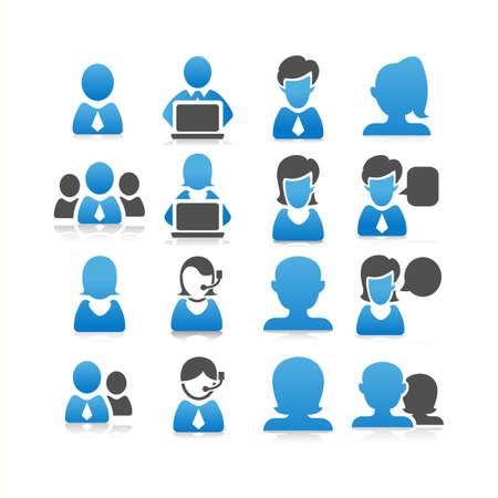 servicio al cliente: conjunto de iconos de personas de negocios - plana de la serie