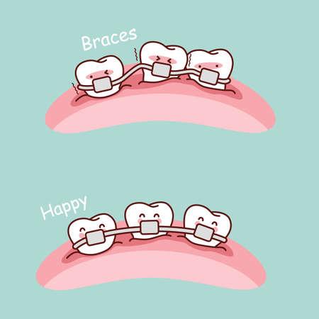 diente caricatura: lindo llaves de dientes de dibujos animados, grandes para el concepto de cuidado dental de la salud