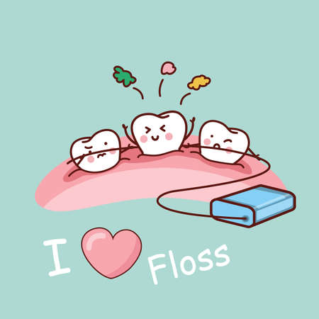 cartoon funny: cartoon tooth with dental floss, great for health dental care concept Illustration