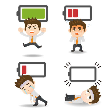 stressed people: Business concept - Cartoon set of  business man with battery power