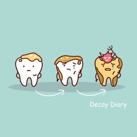 cavity: cute cartoon tooth cavity, great for health dental care concept