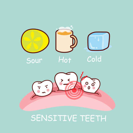 sensitivity: cartoon sensititive tooth, great for health dental care concept Illustration