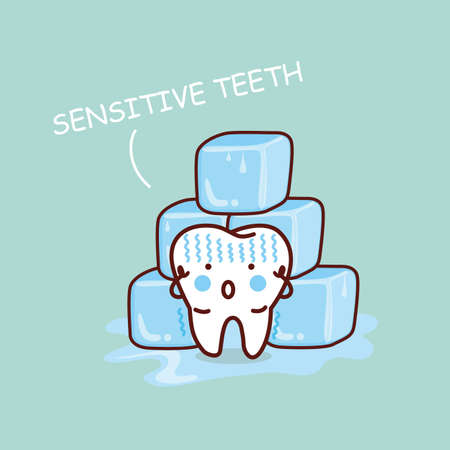 sick people: cartoon sensititive tooth, great for health dental care concept Illustration