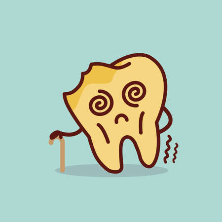 cavity: old cartoon tooth cavity, great for health dental care concept